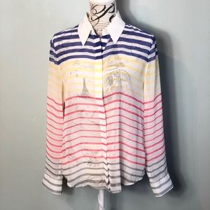 Vince Camuto striped sheer button down shirt small